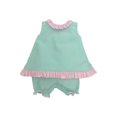 Lulu Bebe Abby Mint & Pink Bloomer Set