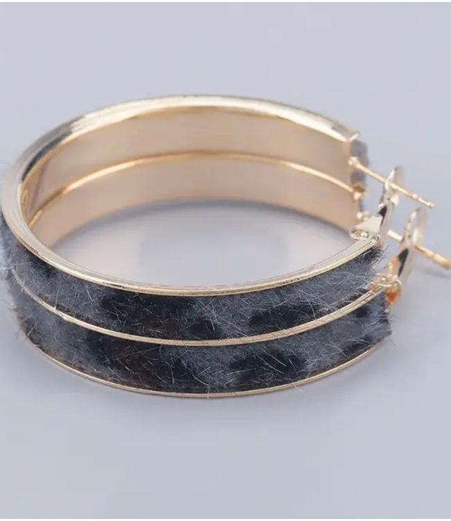#wearfnf Grey Leopard Fuzz Gold Hoop Earrings