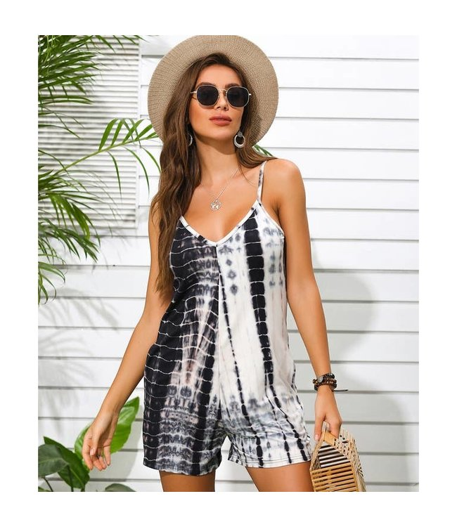 #wearfnf Tie Dye Print Shorts Romper - BLACK