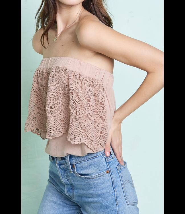 La Miel Tube Top with Crochet - DUSTY ROSE