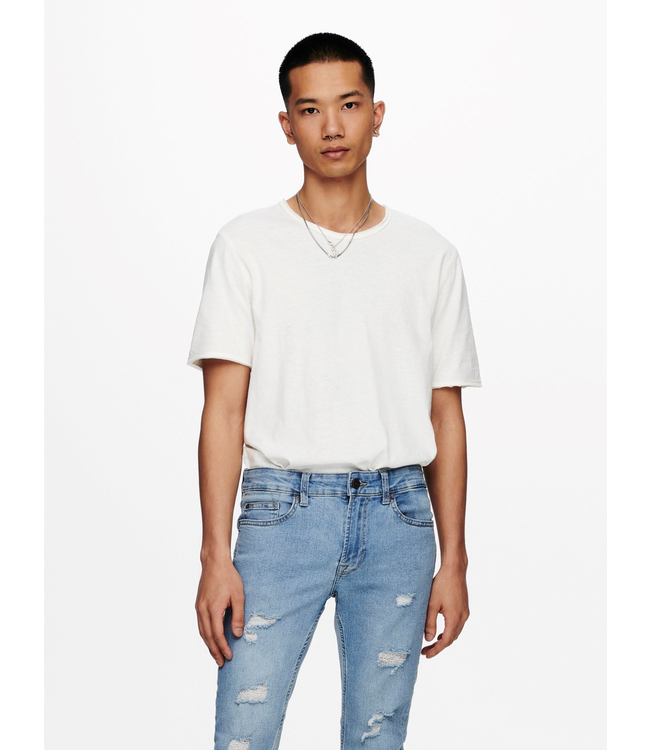 Only & Sons BENNE Life Longy Tee - STAR WHITE