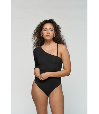 Kuwalla Tee One Shoulder Bodysuit - BLACK