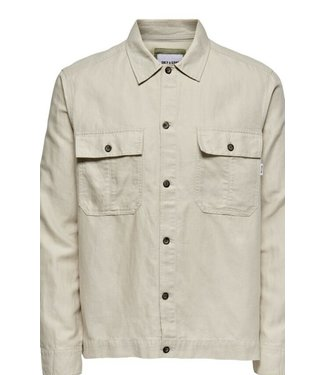 Only & Sons KENNET LIFE Linen Overshirt - PELICAN