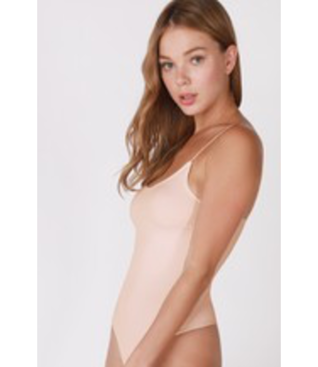 #wearfnf Ribbed Cami Thong Bodysuit - APRICOT ICE