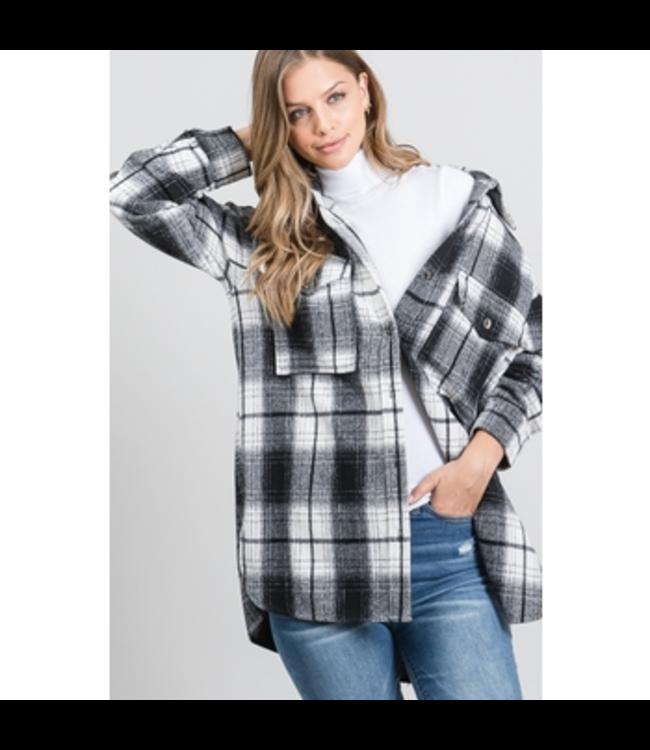 #wearfnf Plaid Shirt Jacket - WHITE/BLACK