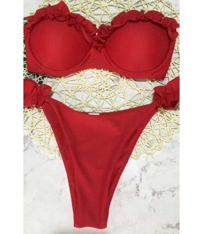 #wearfnf SHEAN Ruffled Bikini - RED