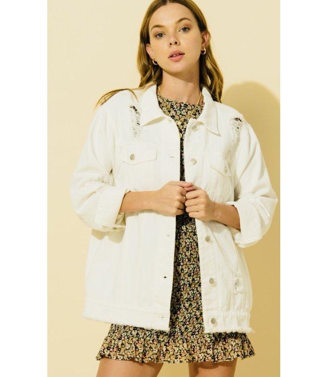#wearfnf Distressed Oversized Denim Jacket - WHITE