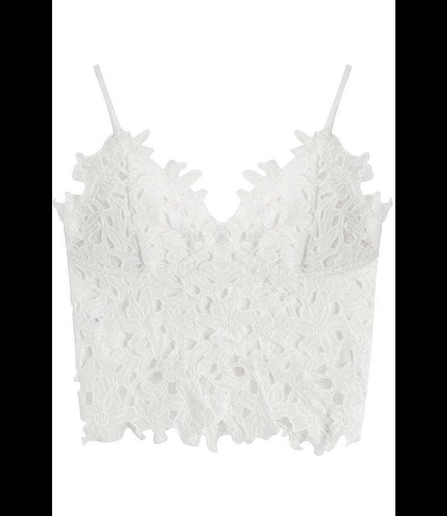 #wearfnf Crochet Lace Cropped Tank Top - WHITE