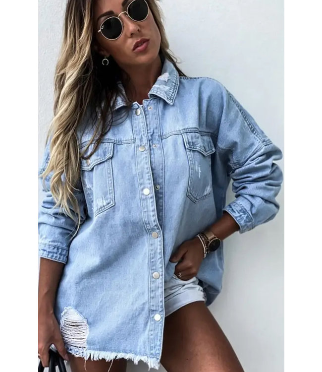 #wearfnf Essential Denim Long Sleeve Jacket - LIGHT BLUE