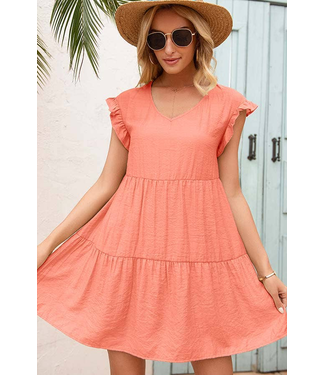 #wearfnf Sunshine Ruffle Babydoll Dress - CORAL