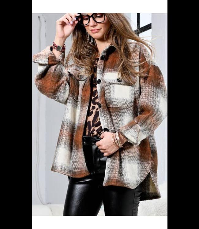 #wearfnf SIENS Combo Plaid Jacket - BROWN COMBO