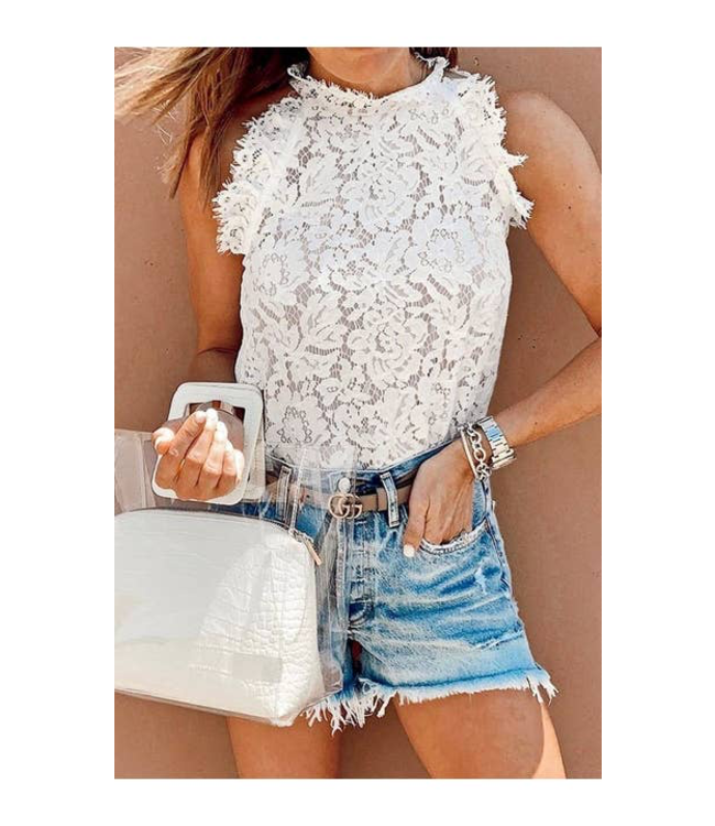 #wearfnf Lace Sleeveless Top - OFF WHITE