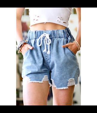 #wearfnf Loose Fit Denim Shorts - LIGHT DENIM