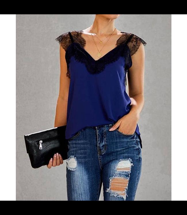 #wearfnf Lace Cami Tank - BLUE