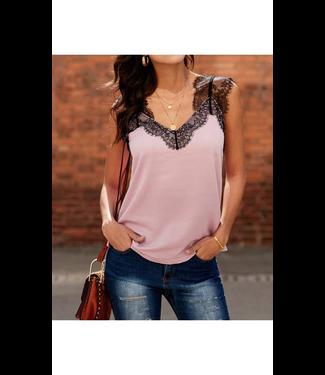 #wearfnf Lace Cami Tank - PINK