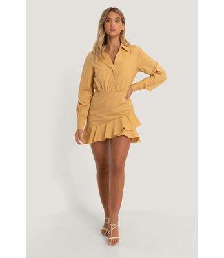 NA-KD Shirt Flounce Dress - SUNSET
