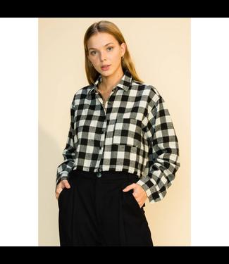#wearfnf Buffalo Plaid Flannel Crop Top - BLACK