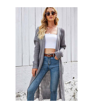 #wearfnf Chic L/S Hooded Cardigan - GREY