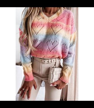 #wearfnf Chic Rainbow Print V-Neck Sweater