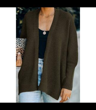 #wearfnf Loose L/S Knit Cardigan - GREEN BLACK