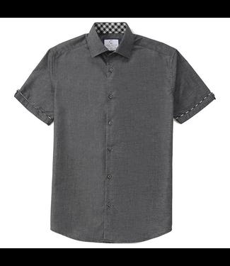 #wearfnf Linen Look Alike Short Sleeve Shirt - CHARCOAL