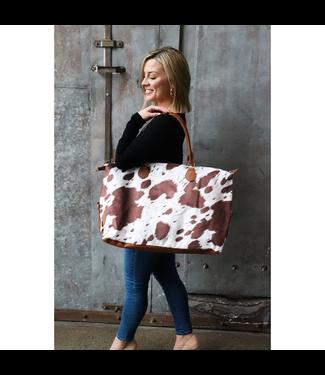 #wearfnf Brindle Cow Print Weekender Bag
