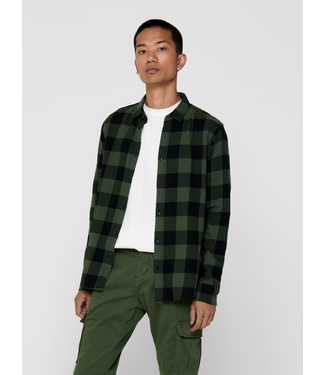 Only & Sons Gudmund Life L/S Checked Shirt - FOREST NIGHT
