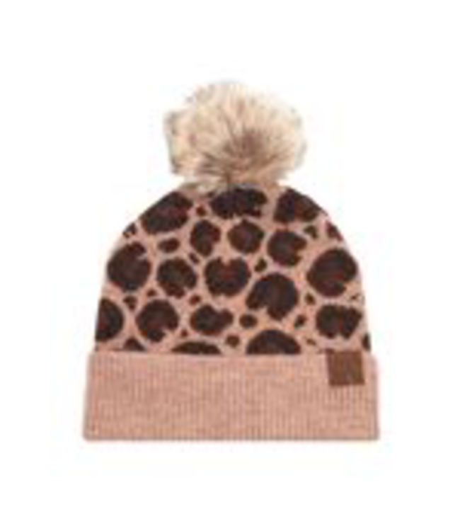 C.C. Cheveux Corp. Beanies Wool Blend Leopard Beanie w/ Pom -