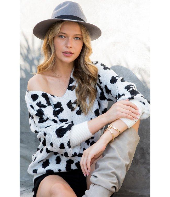 #wearfnf Leopard Print Cozy Sweater - IVORY/BLACK