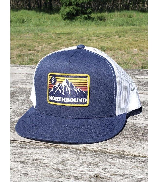 Northbound Supply Co. Retro Mountains Flat Bill Cap - NAVY/WHITE