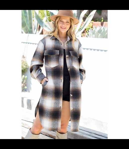 ELLA Long Plaid Coat - BROWN