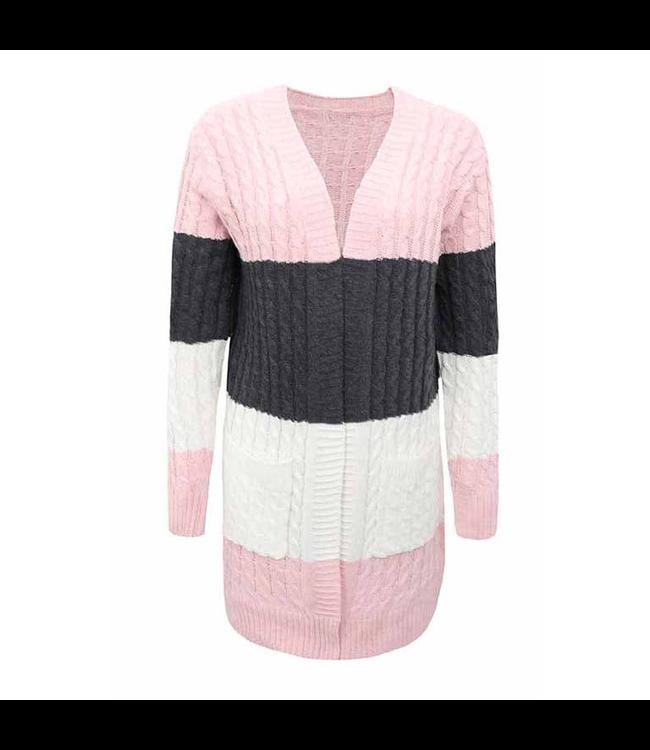 #wearfnf Color Block Cardigan Sweater - BLUSH MULTI