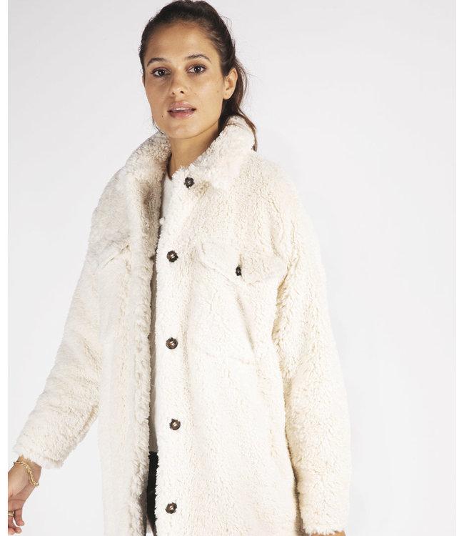 Esqualo Short Teddy Coat - OFF WHITE