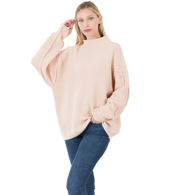 #wearfnf Oversized Mock Neck Raw Seam Sweater -