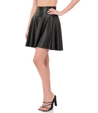 #wearfnf Vegan Leather High Waist Skirt - BLACK