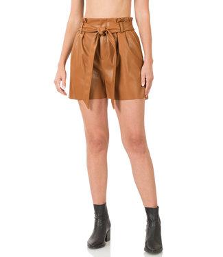 #wearfnf Vegan Leather Tie Waist Paperbag Shorts -