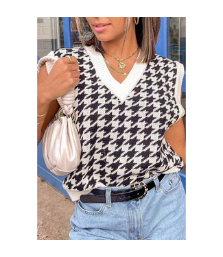 #wearfnf Knitted Sweater Vest - HOUNDSTOOTH