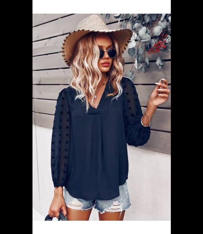 #wearfnf Polka Dot V-Neck Top -