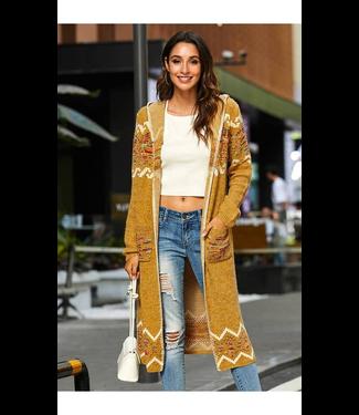 #wearfnf Cozy Hooded Cardigan Sweater - MUSTARD