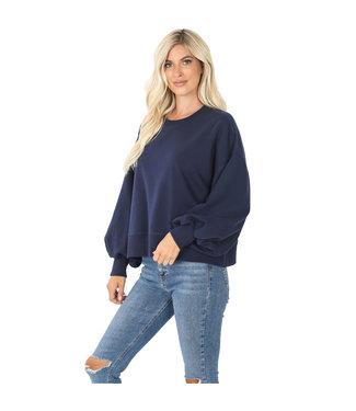 #wearfnf Balloon Sleeve Sweatshirt - NAVY