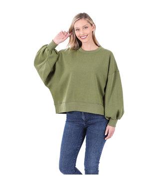#wearfnf Balloon Sleeve Sweatshirt - ASH OLIVE