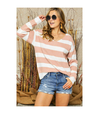 #wearfnf Stripped Deep V-neck Pull Over Sweater - PINK STRIPE