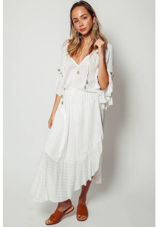 Saylor Rosa Ruffle Sleeve Maxi Dress