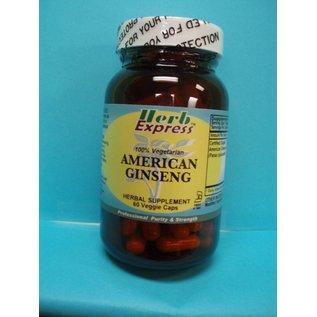 HERB EXPRESS American Ginseng 60 Veggie Capsules Vitamin Express