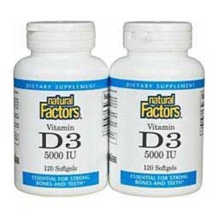 Natural Factors D3 5000iu 120+120sg  Twin Pack