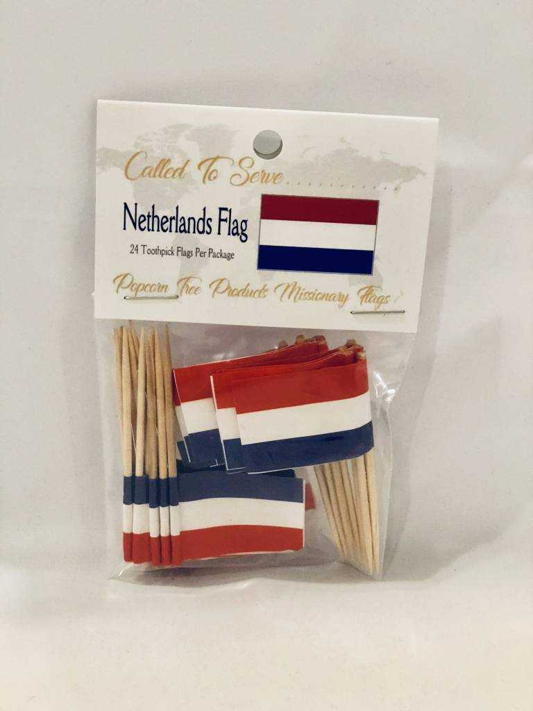 Popcorn Tree Called to Serve Toothpick Flags - Netherlands