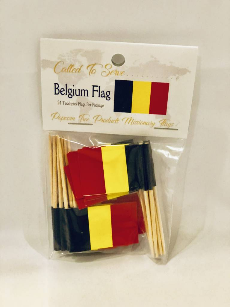 Popcorn Tree Called to Serve Toothpick Flags - Belgium