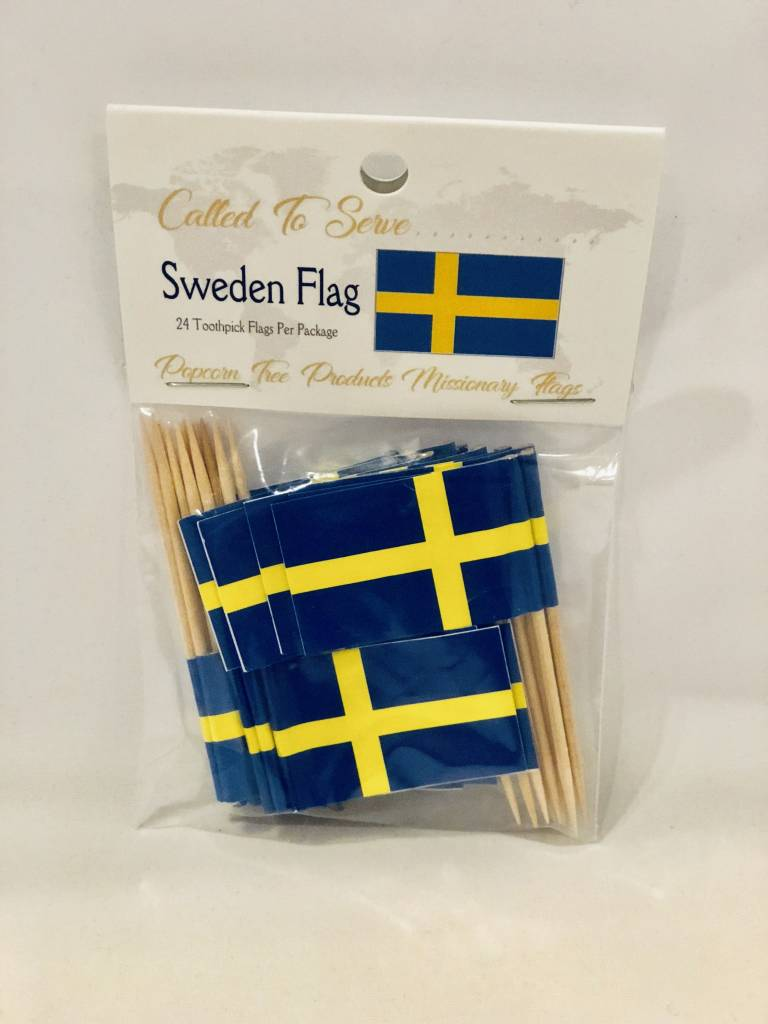 Popcorn Tree Called to Serve Toothpick Flags - Sweden