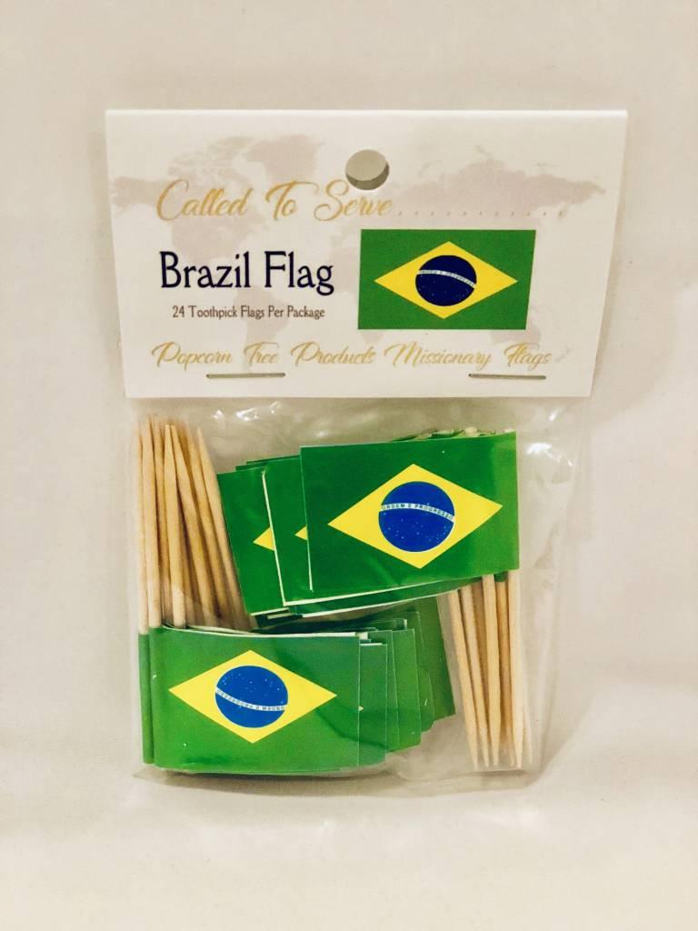 Popcorn Tree Called to Serve Toothpick Flag - Brazil