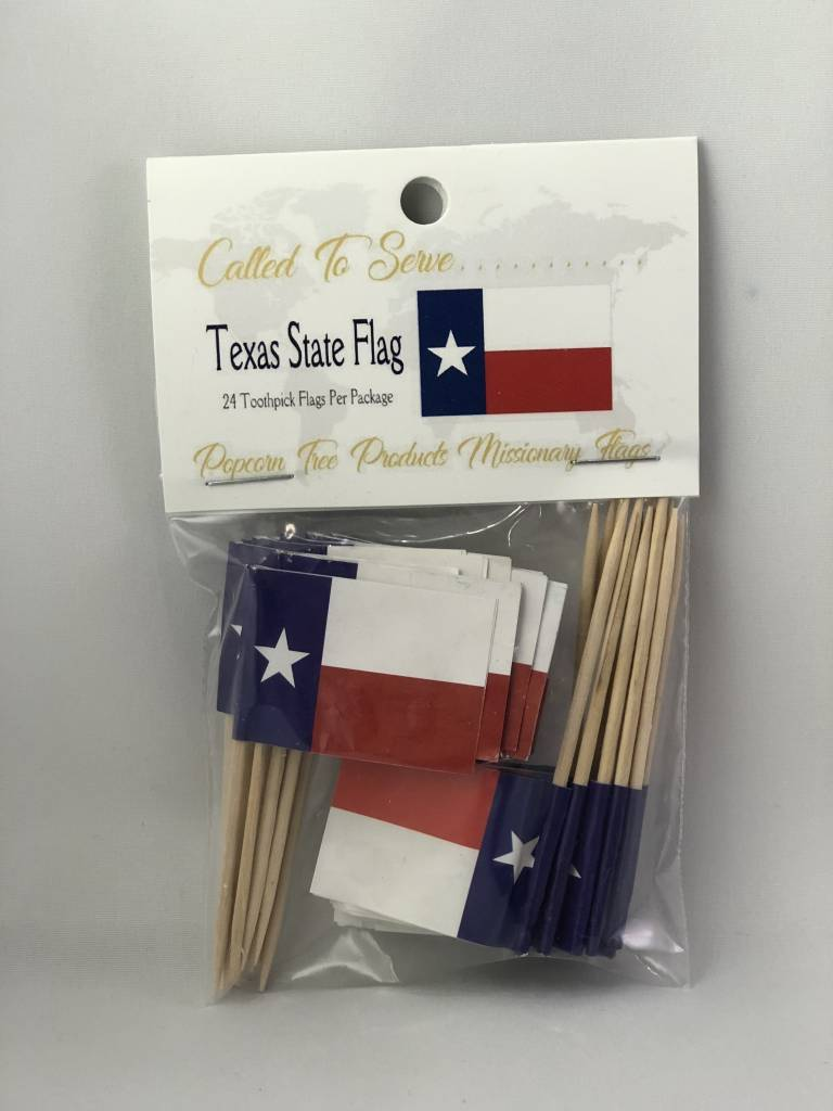 Popcorn Tree Called to Serve Toothpick Flags - Texas